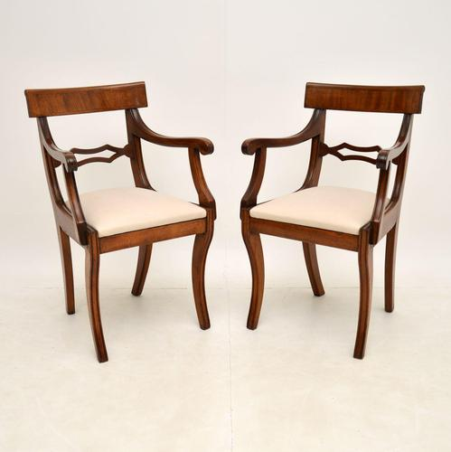 Pair of Antique Regency Period Mahogany Carver Armchairs (1 of 11)
