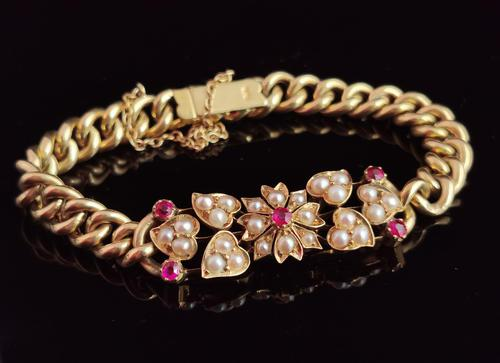 Antique 15ct Gold Ruby and Pearl Curb Bracelet, Floral (1 of 10)