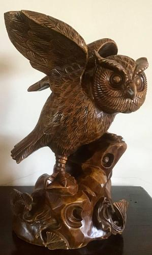Large Hand Carved Wooden Owl (1 of 8)