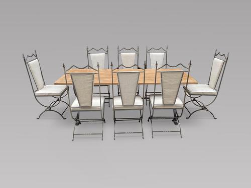 Oak Bleached Top Table on Steel Frame with Eight Matching Chairs (1 of 8)