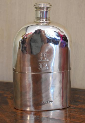 Fine Early Victorian Solid Silver Hip Flask (1 of 8)