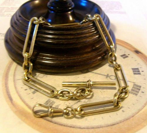 Antique Pocket Watch Chain 1890 Victorian Large Brass Fancy Albert With T Bar (1 of 11)