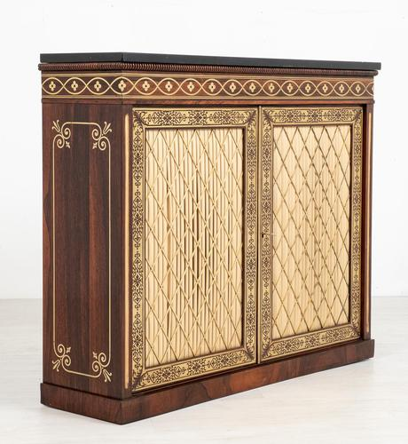 Amazing Rosewood and brass inlaid side cabinet (1 of 9)