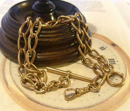 Antique Pocket Watch Chain 1890s Victorian Large Brass Albert With T Bar T*H (1 of 12)