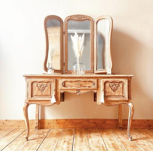 French Antique Style Dressing Table / Vanity Table with Mirror / Desk (1 of 5)