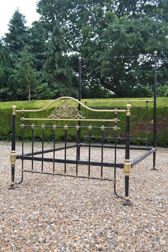 Antique King Size 5ft Half Tester Bedstead by R W Winfield. Bed Restored in your Colour (1 of 19)