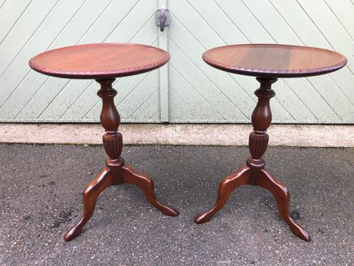 Pair of Antique Mahogany Tripod Wine Tables (1 of 8)