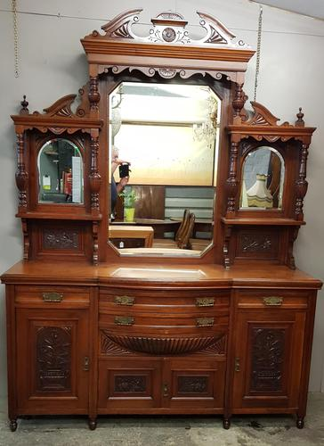 Victorian Walnut Mirrored Sideboard (1 of 6)