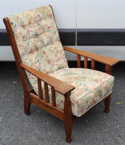 1930s Oak Arts and Craft style Armchair with Floral Upholstery (1 of 3)