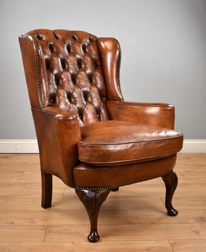 Victorian Hand Dyed Brown Leather Wing Back Armchair (1 of 13)