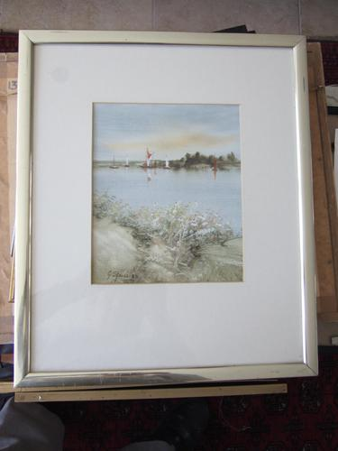 George Spence Oil Painting on Linen Paper of Norfolk Broads (1 of 4)