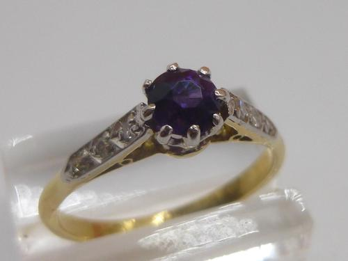 18ct Amethyst & Diamond Ring (1 of 6)