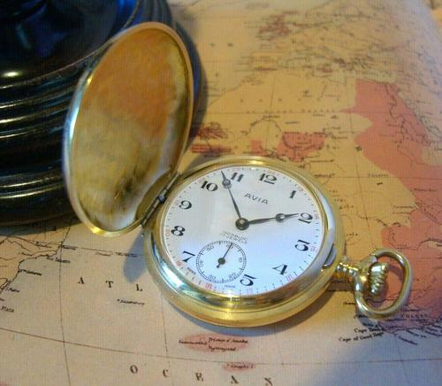 Vintage Pocket Watch 1970s Swiss Avia 17 Jewel 12ct Gold Plated Full Hunter Fwo (1 of 12)
