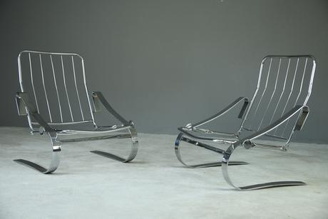 Pair of Cantilever Chrome Armchairs (1 of 8)