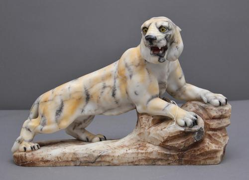 Early 20th Century Alabaster Tiger Sculpture (1 of 11)