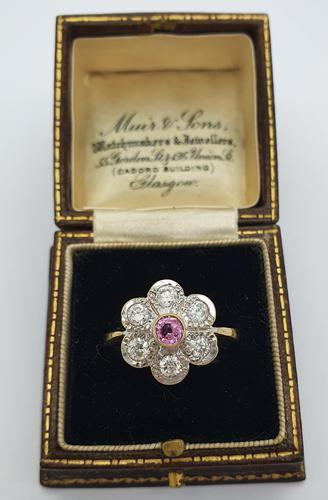Pink Sapphire Diamond Cluster (1 of 2)