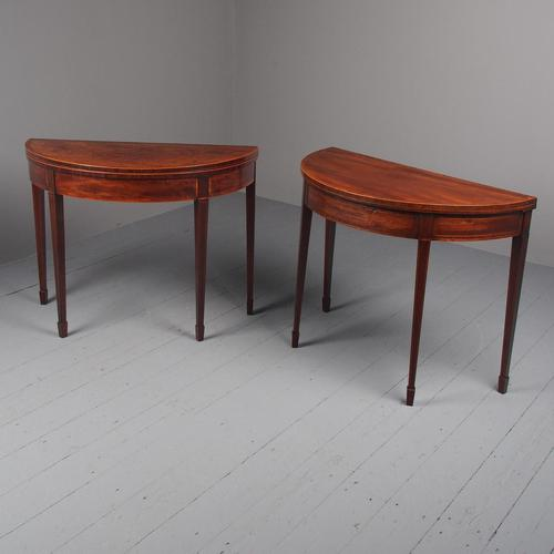 Matched Pair of George III Inlaid Mahogany Demi Lune Tables (1 of 19)