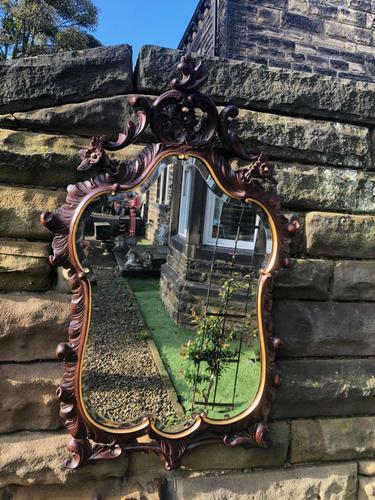 Antique Carved Walnut & Gilt Wall Mirror (1 of 7)