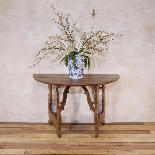 Charming 18th Century Italian Demi-Lune Lyre-Leg Fruitwood Table (1 of 13)