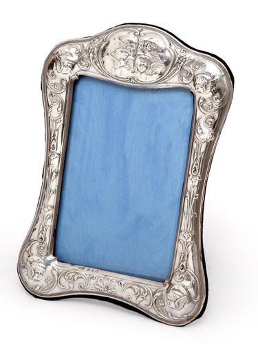 Victorian Silver Photo or Picture Frame Embossed with Reynolds Style Cherubs (1 of 5)