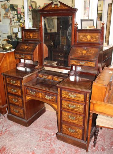 Large 1900's Mahogany & Rosewood Dressing Table with Inlay (1 of 5)