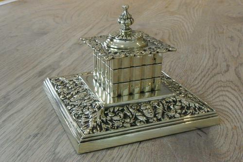 Large Victorian Brass Inkwell by William Tonks with Glass Liner WT&S c.1895 (1 of 9)