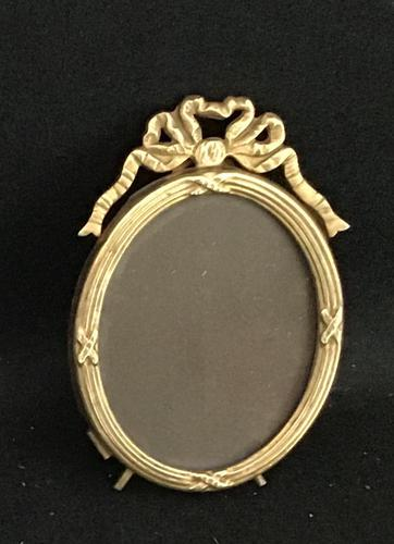 Small Edwardian Brass Oval Easel Photo Frame (1 of 4)