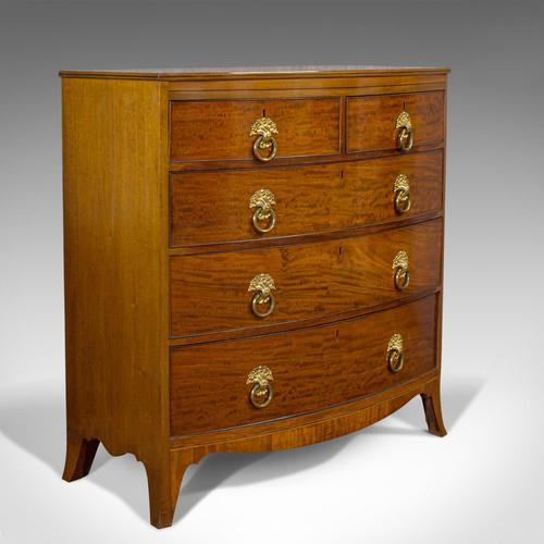 Antique Bow Front Chest of Drawers, English, Mahogany, Tallboy, Victorian, 1870 (1 of 12)
