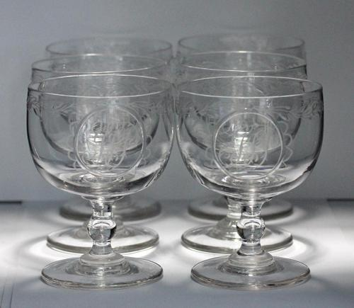 Set of Six William IV Hand-blown Engraved Wine Goblets (1 of 6)