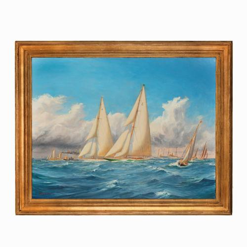 A rare painting of 1930 America's Cup racing off Newport, signed 'Harold Wyllie' (1 of 12)