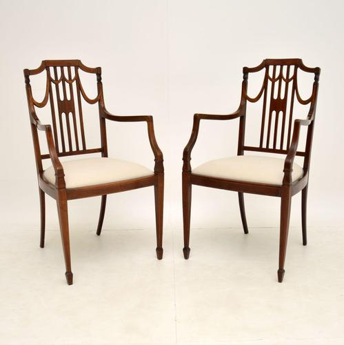 Pair of Antique Edwardian Inlaid  Mahogany Armchairs (1 of 12)