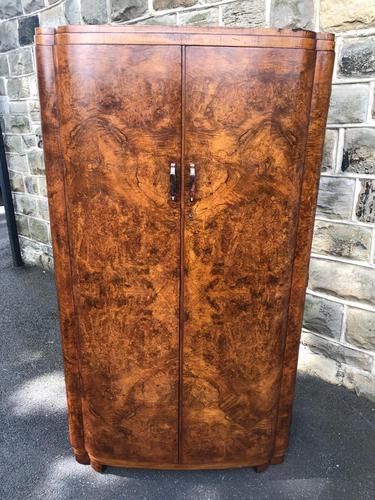 Art Deco Burr Walnut  Wardrobe (1 of 11)