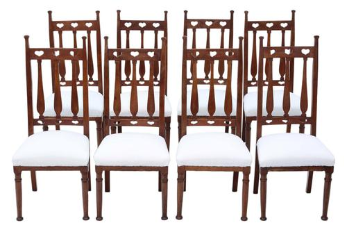 Set of 8  Mahogany Art Nouveau Dining Chairs C1910 (1 of 6)