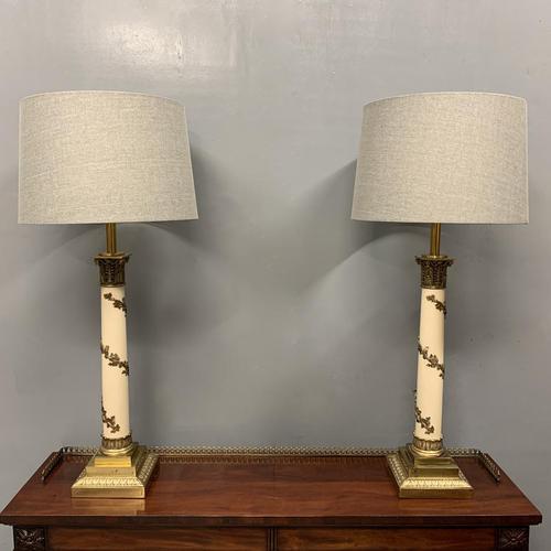 Impressive Pair of Brass & Enamelled Vine Lamps (1 of 7)