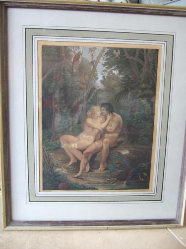 Bartolozzi RA after Thomas Stothard RA: late 18th/early 19th century stipple engraving of Adam and Eve illustrating Milton's Paradise Lost (1 of 7)