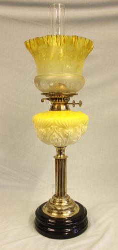 Antique Victorian Yellow Glass Oil Lamp (1 of 12)