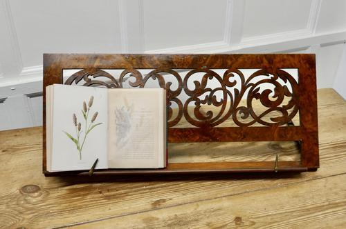 Adjustable Fretwork Figured Walnut Book Rest or, Lutrin (1 of 7)