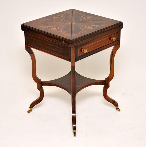 Antique Victorian Inlaid Rosewood Envelope Card Table (1 of 12)
