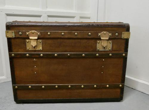 Large Tan Canvas, Wood, Leather & Brass Bound Steamer Trunk (1 of 9)