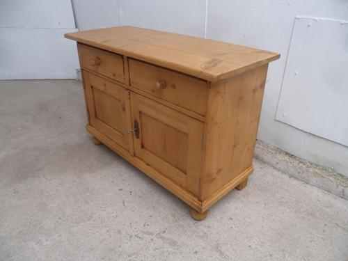 Low & Wide Antique Pine Waxed Bedside Cabinet / Sofa Table (1 of 9)