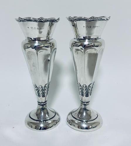 Pair of Antique Sterling Silver Trumpet Shaped Vases (1 of 12)