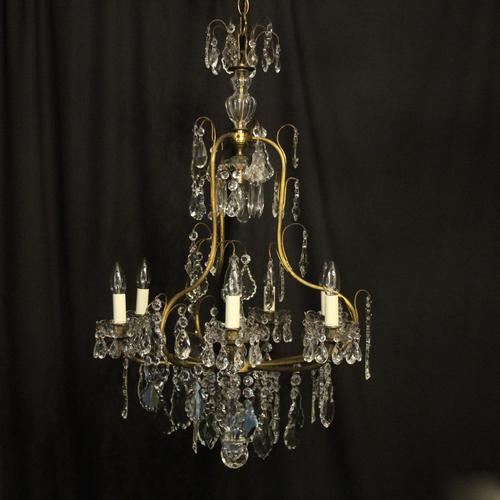 French Gilded & Crystal Birdcage 7 Light Antique Chandelier (1 of 10)