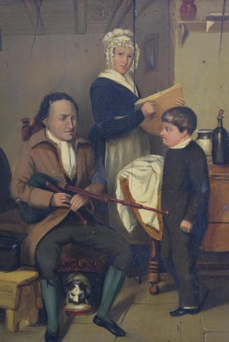 19th Century British Naive School Oil on Panel - Blind Musician (1 of 11)