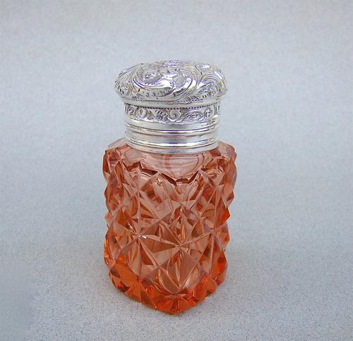 Unusual Victorian Silver & Cut Glass Heart-shaped Scent Bottle c.1895 (1 of 8)