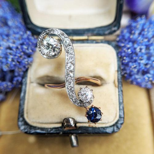 Antique Edwardian 15ct Gold Diamond & Sapphire Upfinger Dress Ring (1 of 12)