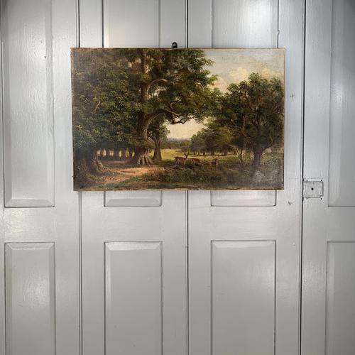 Antique Landscape Oil Painting of Deer in Richmond Park Signed JI Lewis (1 of 10)