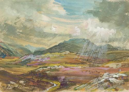Original gouache painting 'Strath Ondal, The Black Valley by Fort William' by Barbara Lady Brassey 1911-2010.Signed. c.1975 (1 of 2)
