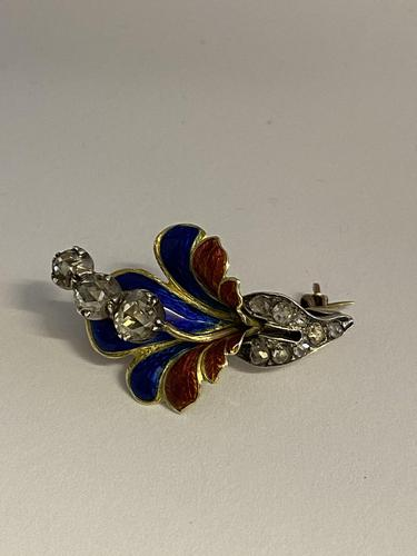 Georgian 18ct Diamond Enamel Floral Brooch (1 of 8)