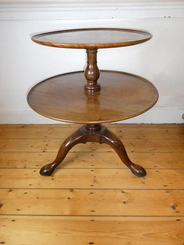 English 18th Century Two Tier Round Table (1 of 9)