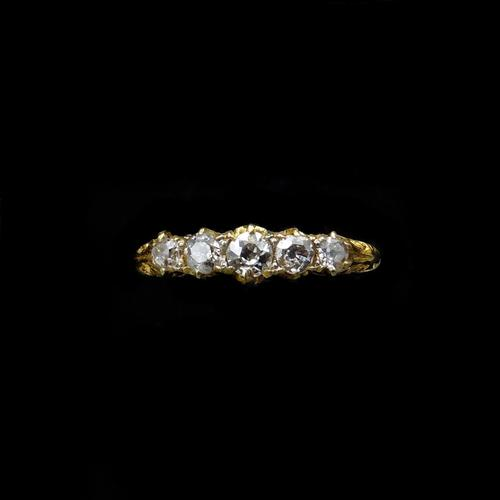 Antique Victorian Old Cut Diamond Five Stone 18K Gold Scroll Ring (1 of 10)